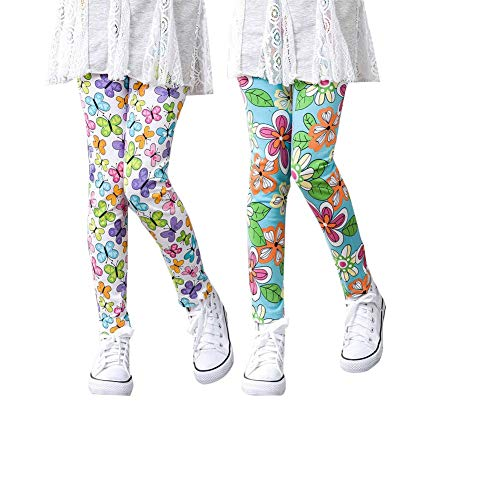 Ghuicja Girls Pants Great Stretch Printing Flower Toddler Leggings Kids Classic Footless Ultra Soft Transition Tights 2 Pack (6-7T, DDK002) ()
