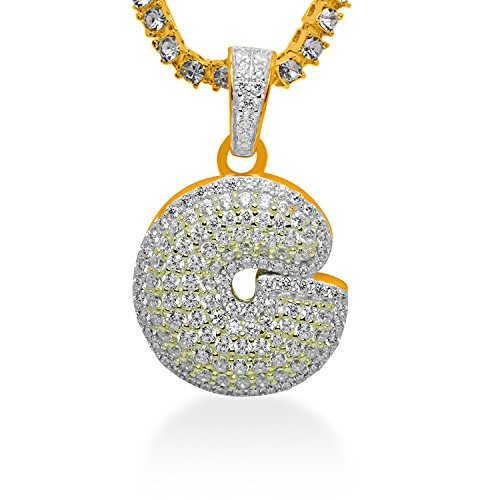 925 Sterling Silver Yellow Gold-Tone Iced Out Hip Hop Swag Bling Bubble Letter G Pendant with 18'' 1 Row Chain by iRockBling