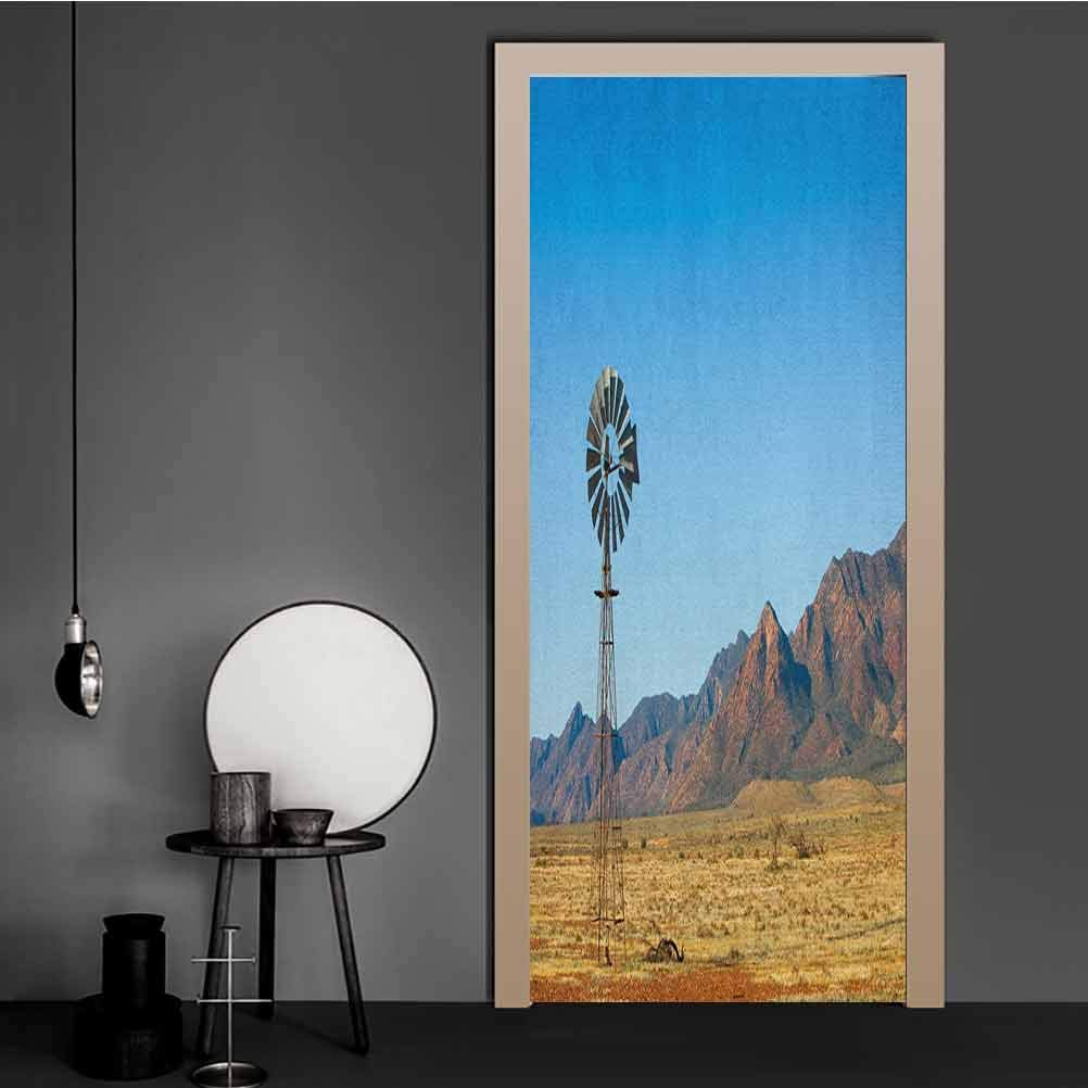 Windmill Stick Wallpaper Flinders Ranges South Australia Mountains Barren Land Summer Door Wall Mural Earth Yellow and Pale Blue Fashion Home Decoration Removable   23