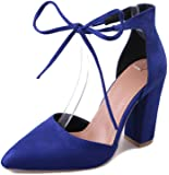 FINOC Womens High Heel Pumps Shoes, Chunky Heels & Crossover Ankle Strap Suede Heeled Sandals For Women