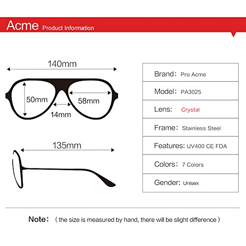 Pro Acme Aviator Crystal Lens Large Metal Sunglasses,58mm Black Frame/Crystal Gray Lens