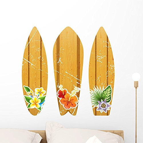 - Wallmonkeys FOT-81560989-24 WM69187 Wooden Surfboards with Floral Prints Peel and Stick Wall Decals H x 24 in W, 24