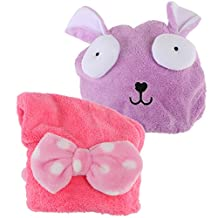kilofly 2pc Soft Absorbent Dry Hair Cap Kids Quick Drying Towel Head Wrap Set