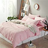 Bedding Duvet Cover Sets,Sheets and Pillowcases Washed cotton solid color simple striped lattice gifts Duvet Cover, 4pcs,B,Twin 150*200cm