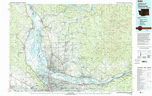 YellowMaps Vancouver WA topo map, 1:100000 Scale, 30 X 60 Minute, Historical, 1979, Updated 1993, 24.1 x 38.1 in - Paper