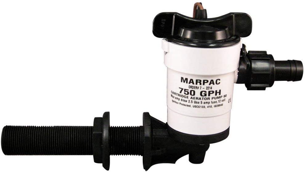3//4 Out Baitwell Marpac 38702M Livewell Aerator Water Pump 750 GPH 90Deg  Inlet