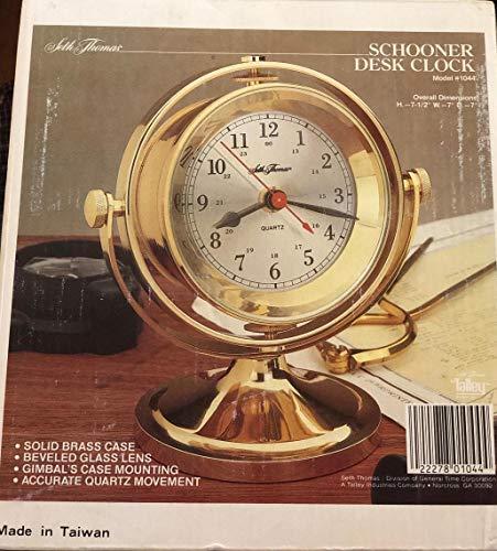 (Seth Thomas 1044 Brass Schooner Gimbals Nautical Desk Ships Clock)