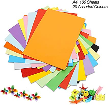 Cartulina de colores A4, 100 unidades, 230 g, 20 colores variados, papel de origami, manualidades y decoración, papel de dibujo y corte, papel de impresora de colores (297 x 210 mm): Amazon.es: Oficina y papelería