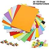 Cartulina de colores A4, 100 unidades, 230 g, 20 colores variados, papel de origami, manualidades y decoración, papel de…