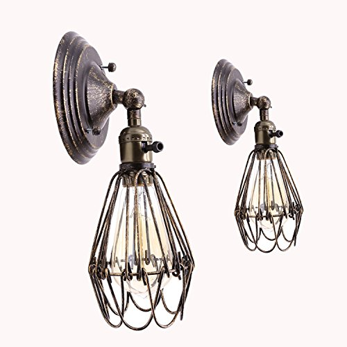 Adjustable Cage Wall Sconce, Motent Vintage Industrial Opening and Closing Wire Cage Lampshade in Oil Rubbed Bronze Finish Antique Bronze Wall Lamp Fixture with 1 E26 Socket for Bar Club Loft - 2 Pack