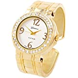 STC Gold Metal Brushed Finish Crystal Bezel Large Face Women's Bangle Cuff Watch