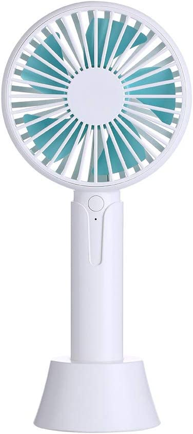 PRAVETTE Mini Handheld Fan Rechargeable USB Fan Lightweight Portable Personal Battery Operated Desk Desktop Table Fan with Base for Office Room Outdoor Household Traveling White