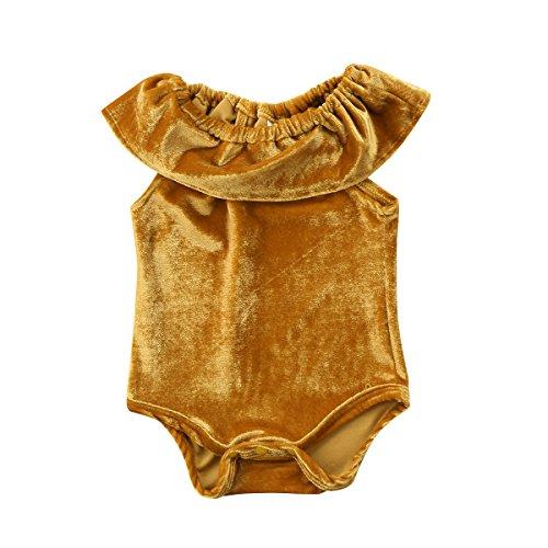 Newborn Baby Girls Velvet Ruffle Romper Toddler Kids Soft Bodysuit Jumpsuit (Gold Yellow, 6-12 Months) (Velvet Onesie)