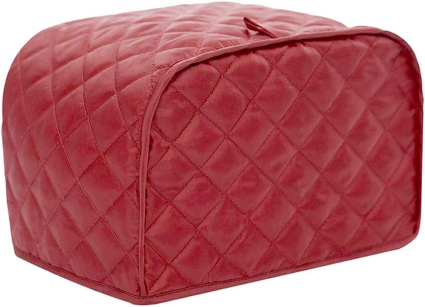 KINMAD Polyester Fabric Quilted Four Slice Bread Toaster Cover Bakeware Protector, Dust and Fingerprint Protection- Best Gift for Mother, Red