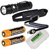 Fenix RC11 1000 Lumen USB rechargeable CREE LED Flashlight EDC with 2 X Fenix 18650 Li-ion batteries, and EdisonBright BBX3 battery carry case bundle
