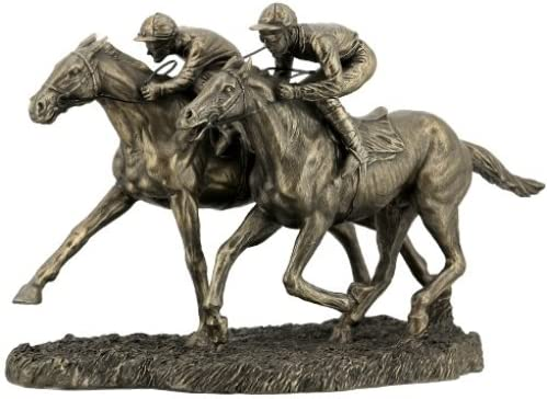 US 12.63 Inch Two Jockeys Horse Racing Cold Cast Bronze Figurine