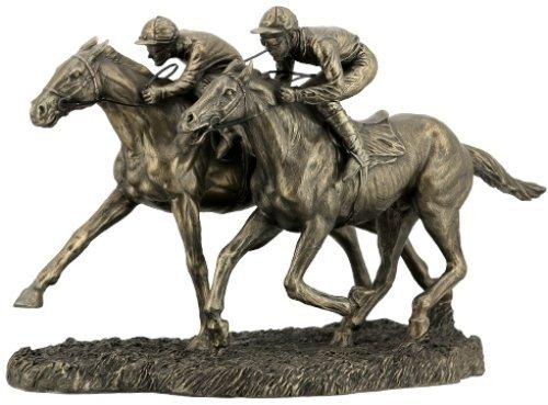 12.63 Inch Two Jockeys Horse Racing Cold Cast Bronze Figurine]()