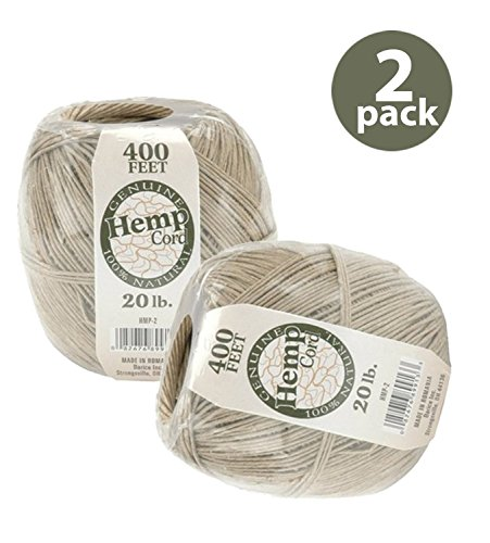 (One Package of 400 feet 100% Natural Hemp Cord #20…)