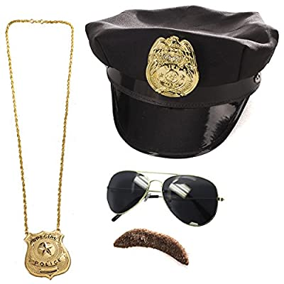 Police Costume Accessories - 4 Pc Set - Police Hat, Mustache and Aviator Glasses by Tigerdoe