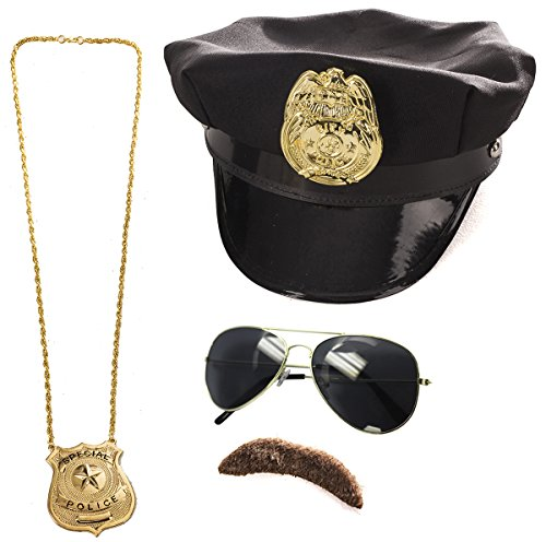 Police Costume Accessories - 4 Pc Set - Police Hat, Mustache and Aviator Glasses by Tigerdoe -