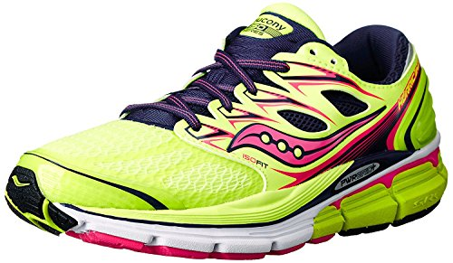 Saucony Womens Hurricane ISO Running Shoe, Citron/Navy/Pink, 36 B(M) EU/3.5 B(M) UK