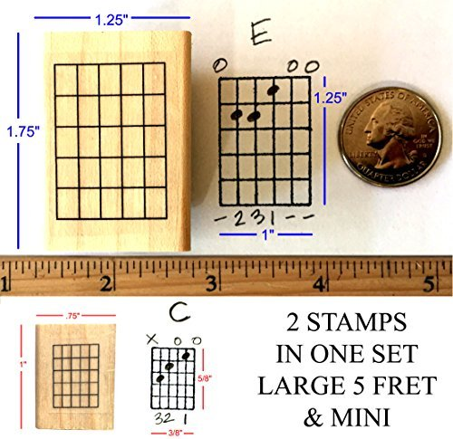Stampola Guitar Chord Stamp Set - 2 Fretboard Rubber Stamps (5-Fret Large and 5-Fret Mini)