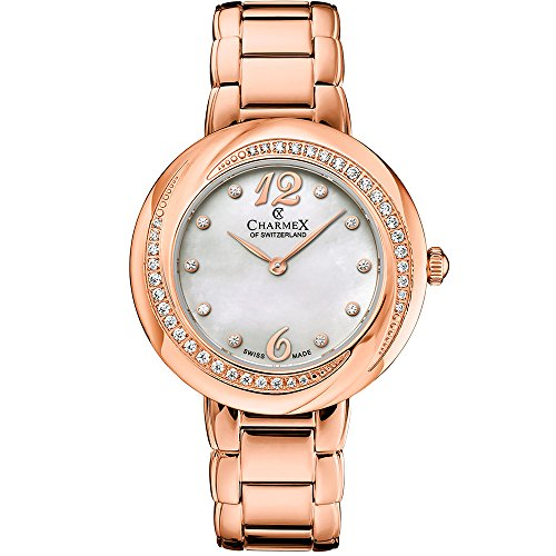 Charmex Women's Deauville 34mm Rose Gold-Tone Steel Bracelet & Case Quartz MOP Dial Analog Watch 6365