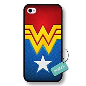 - Customize Cartoon Black Superwoman Wonder Woman iPhone 4/4s case - Black 1