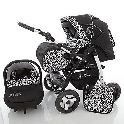 Chilly Kids J1 3 in 1 Cochecito Combinado (asiento del coche, cubierta para la lluvia, mosquitera 07 colores) 27 Jaguar & negro