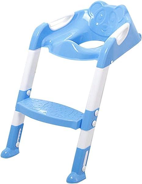 Asiento para niños plegable con orinal para niños Escalera cubierta PP Inodoro Silla ajustable Entrenamiento para orinar Orinal Asientos para niños niñas - Azul: Amazon.es: Bebé