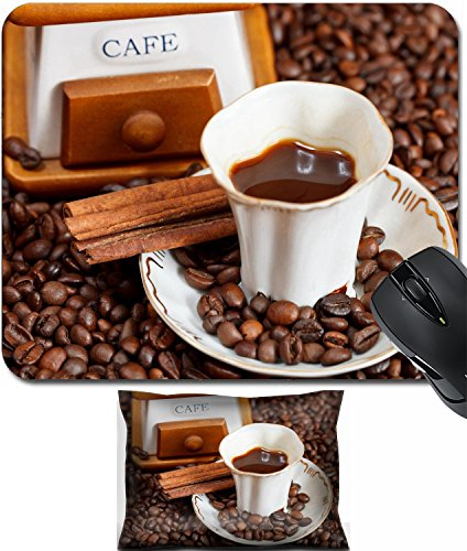 MSD Mouse Wrist Rest and Small Mousepad Set, 2pc Wrist Support design 24414327 small cup of coffee and roasted coffee beans with vintage manual mill cinnamon
