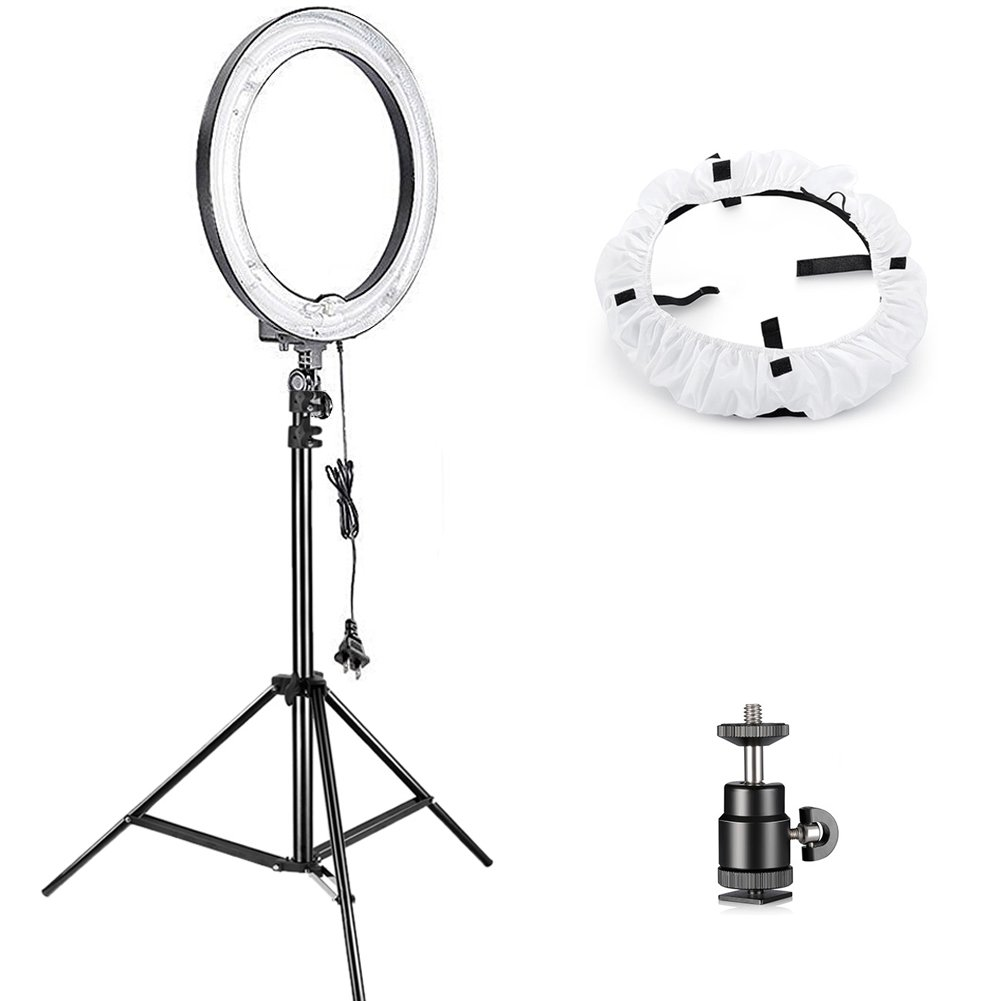 Neewer Advanced Dimmable Fluorescent Ring Light, 18 inches Outer/14 inches Inner 75W (600W Equivalent) 5500K Studio Light for Makeup Portrait Photography YouTube Vine Video Shooting 10090101@@##1