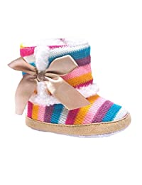 LNGRY Baby Girl Rainbow Soft Sole Snow Boots Soft Crib Shoes Toddler Boots