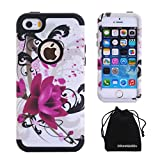 iPhone SE / iPhone 5S 5 Case, DRUnKQUEEn [Shockproof] Dual-layer Hybrid Lotus Flower Protective Case Cover for iPhoneSE iPhone5S - Black