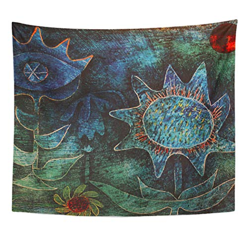 Semtomn Tapestry Artwork Wall Hanging Paul Abstract Flowers at Klee Botanical Greens Blues Peacock 50x60 Inches Home Decor Tapestries Mattress Tablecloth Curtain Print