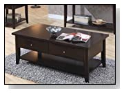 Coffee Table with Storage Drawers in Cappuccino Finish