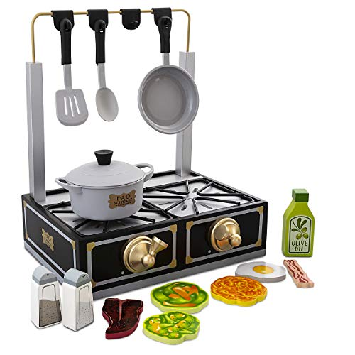 FAO Schwarz Tabletop Stove Playset, Includes Pot & Pan Props, Spatula & Spoon Prop, 6 Assorted Foodpiece, Solid Wood (Burners Play Kitchen Stove)