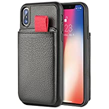 LAMEEKU iPhone X Wallet Case,iPhone X Card Holder Case, Support Wireless Charging Phone Case, Protective iPhone 10 Case Detachable Credit Card Pockets, Cover for Apple iPhone X 5.8 inch-Black