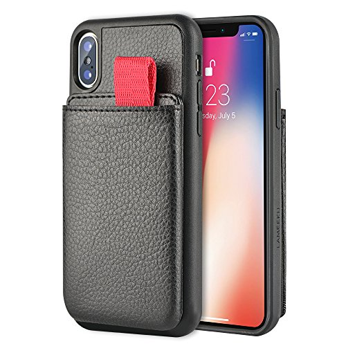LAMEEKU Wallet Case for iPhone XS and iPhone X, Protective Leather Cases with Credit Card Holder Slot Pocket Support Wireless Charging, Shockproof TPU Bumper Cover compatible with iPhone XS - FL Black
