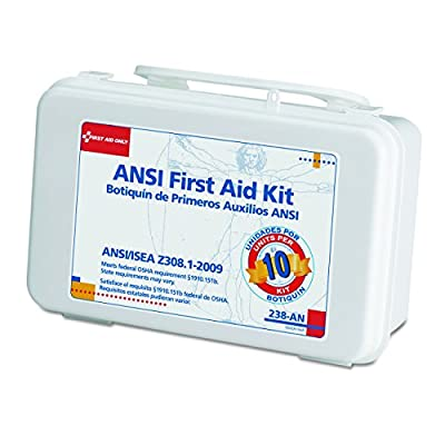 First Aid Only Unitized First Aid Kit with 10 Unit Plastic Case, Ansi by First Aid Only