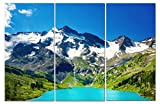 split wall art - Stunning Views Gorgeous Snow Capped Mountain & Lake View - Multi Panel Split Canvas Wall Art Set - 12 x 24 3 piece (Total size 24 x 36 inch) – Gallery wrapped & framed décor piece– Ready to hang!