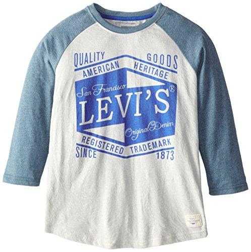 Levi's Big Boys' 3/4 Sleeve Raglan., Heath Grey, Small