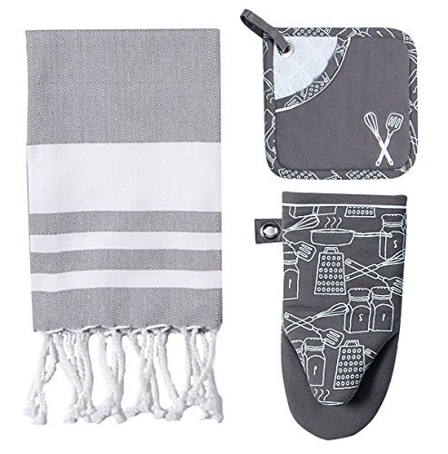 3 Piece Cookery Bundle - One Oven Mitt, One Pocket Mitt, One Fouta Towel, Steel (Gray) by Kay Dee