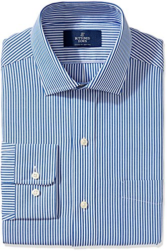 BUTTONED DOWN Men's Classic Fit Spread-Collar Non-Iron Dress Shirt, Blue Bengal Stripe, 19
