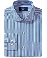 """BUTTONED DOWN Men's Classic Fit Spread-Collar Non-Iron Dress Shirt, Blue Bengal Stripe, 15.5"""" Neck 31"""" Sleeve"""
