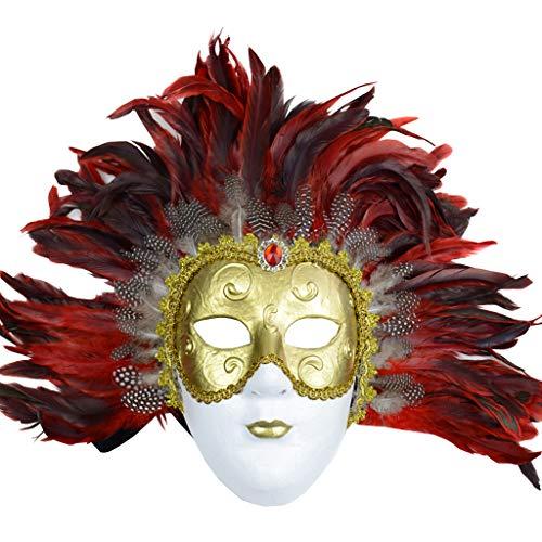JGBHPNYX Masque De Cheveux D'Autruche Halloween Masque De Barre De Pulpe Verte Visage Complet -