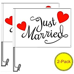 Atziloose Just Married Car Window Flag (Pack of 2), Just Married Car Decorations