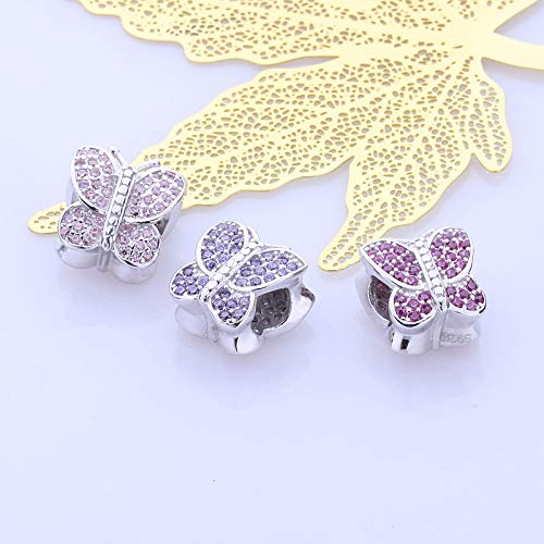 Color: Pink Pukido Fanny Pink CZ Pave 925 Sterling Silver European Bead Butterfly Charms Beads fit DIY Bracelet for Women pulsera Jewelry