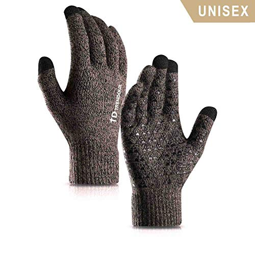 TRENDOUX Gloves for Men, Touch Screen Winter Gloves for Women Unisex - Running Driving Texting for Smart Phone - Warm Knit Thermal Liners for Cold Weather - Anti-Slip - Elastic Cuff - Gray - XL