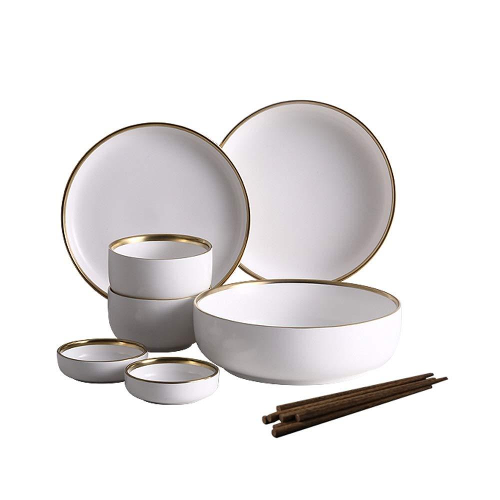 Bowl Nordic creative Phnom Penh ceramic tableware Western dishes rice bowl salad bowl steak plate - 2 colors, 2 sets (color : White, Size : 2-person suit)